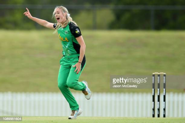 Holly Ferling of the Stars appeals during the Women's Big Bash League match between the Sydney Thunder and the Melbourne Stars at Blacktown...