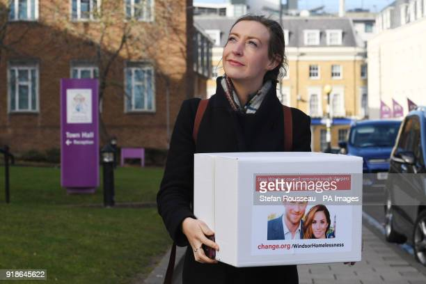 Holly Fishwick delivers a petition to Windsor and Maidenhead Council in Maidenhead asking for them to stop removing rough sleepers from Windsor town...