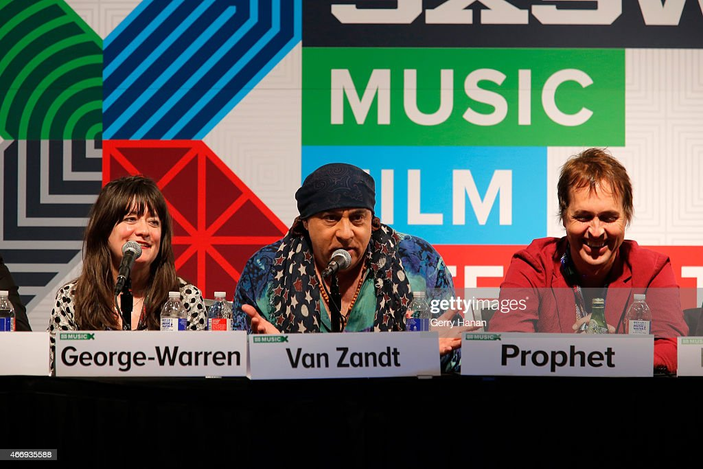 Holly George-Warren, Steven Van Zandt, and Chuck Prophet speak onstage at 'The Who At 50' during the 2015 SXSW Music, Film + Interactive Festival at Austin Convention Center on March 19, 2015 in Austin, Texas.