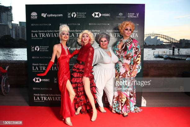 Holly Go Lightly , Tackie Onassis, Maxi Shield and Tora Hymen attend opening night of La Traviata on March 26, 2021 in Sydney, Australia.
