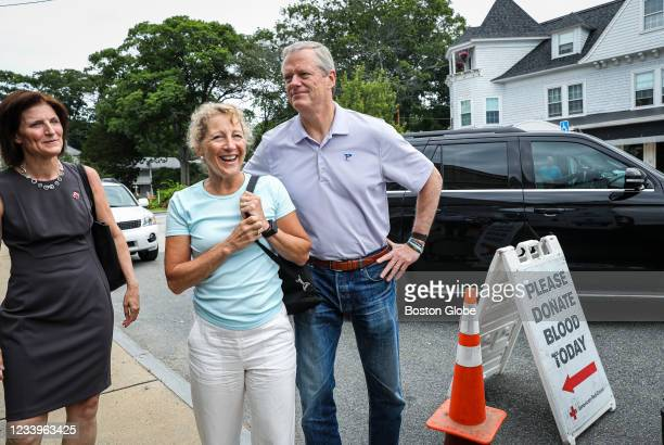 Holly Grant, CEO at American Red Cross of Massachusetts, left, welcomes first lady of Massachusetts Lauren Baker and Gov. Charlie Baker while they...