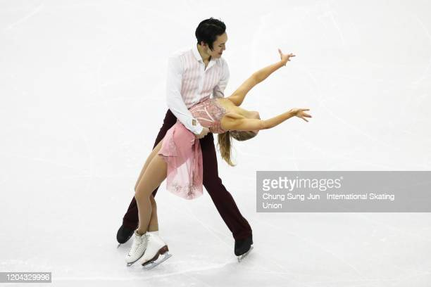 Holly Harris and Jason Chan of Australia perform during the Ice Dance Rhythm Dance segment of the ISU Four Continents Figure Skating Championships at...