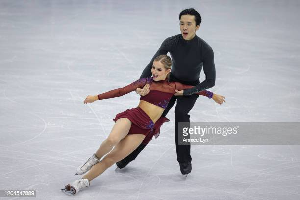 Holly Harris and Jason Chan of Australia perform in the Ice Dance Free Dance during day 2 of the ISU Four Continents Figure Skating Championships at...
