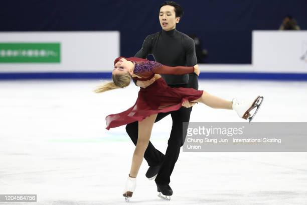 Holly Harris and Jason Chan of Australia perform in the Ice Dance Free during the ISU Four Continents Figure Skating Championships at Mokdong Ice...