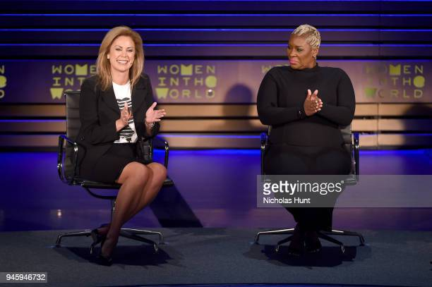Holly Harris and Topeka Sam speak on stage at the 2018 Women In The World Summit at Lincoln Center on April 13 2018 in New York City