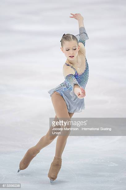 Holly Harris of Australia competes during the Junior Ladies Free Skating on day three of the ISU Junior Grand Prix of Figure Skating on October 8...