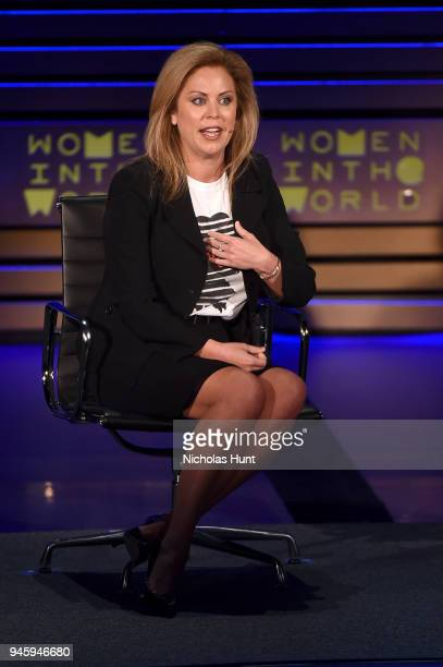 Holly Harris speaks on stage at the 2018 Women In The World Summit at Lincoln Center on April 13 2018 in New York City