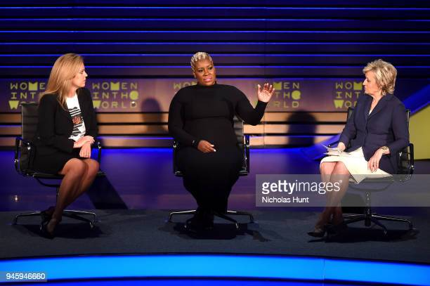 Holly Harris Topeka Sam and Tina Brown speak on stage at the 2018 Women In The World Summit at Lincoln Center on April 13 2018 in New York City