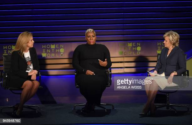 Holly Harris Topeka Sam and Tina Brown speak onstage during the Women of the World Summit on April 13 2018 in New York City / AFP PHOTO / ANGELA WEISS