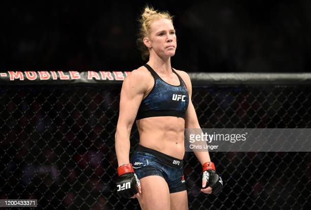 Holly Holm enters the octagon in her bantamweight fight during the UFC 246 event at T-Mobile Arena on January 18, 2020 in Las Vegas, Nevada.