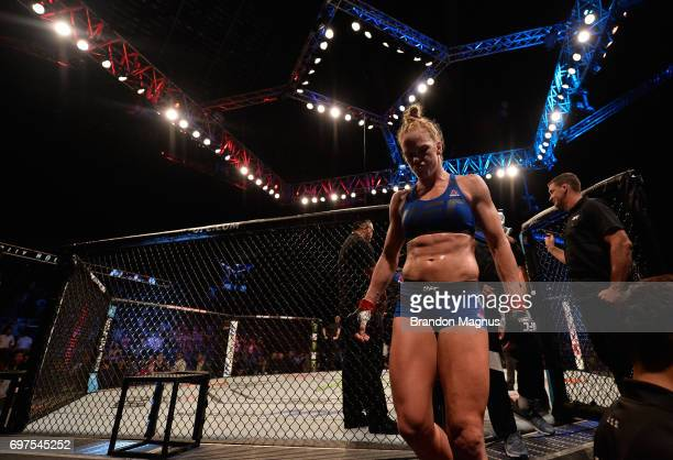 Holly Holm exits the Octagon after knocking out Bethe Correia of Brazil in their women's bantamweight bout during the UFC Fight Night event at the...