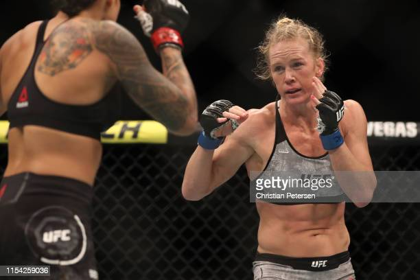 Holly Holm faces Amanda Nunes of Brazil in their UFC bantamweight championship fight during the UFC 239 event at T-Mobile Arena on July 6, 2019 in...