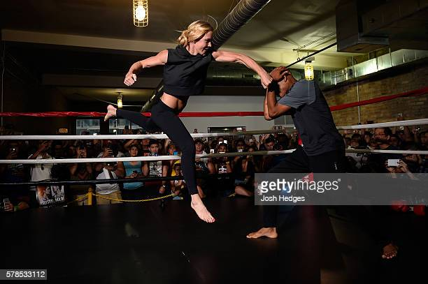 Holly Holm holds an open workout session for media at the UFC Gym on July 21 2016 in Chicago Illinois