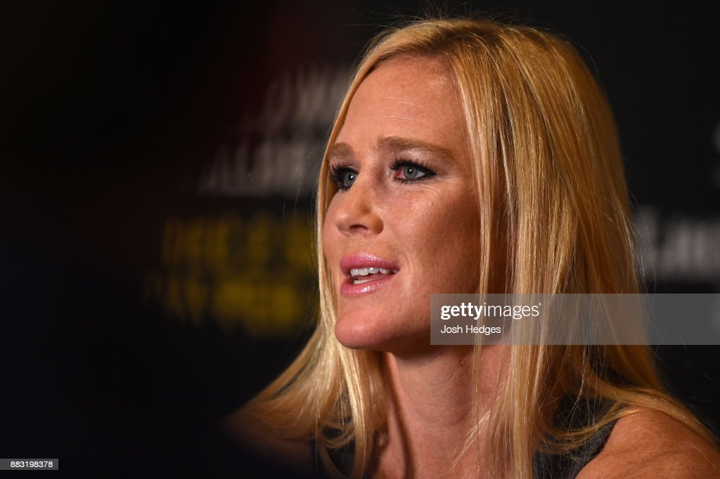 Holly Holm interacts with media ahead of her UFC 219 fight against Cris Cyborg during the UFC 218 Ultimate Media Day at the DoubleTree Hotel on November 30, 2017 in Detroit, Michigan.