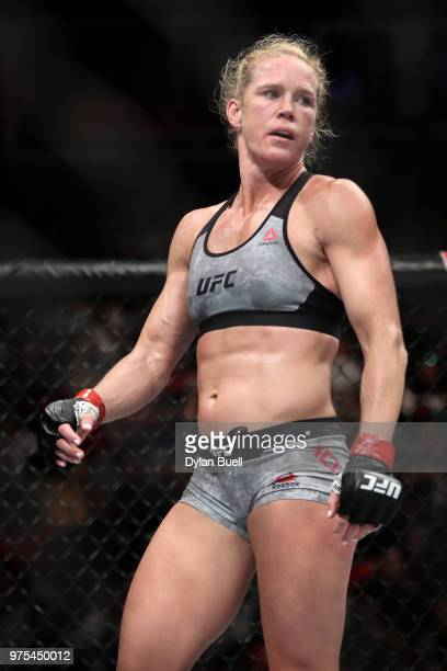 Holly Holm prepares before the second round against Megan Anderson of Australia in their featherweight bout during the UFC 225 Whittaker v Romero 2...