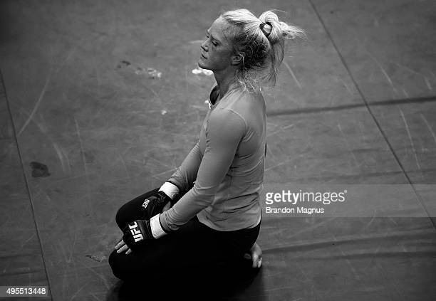 Holly Holm takes a deep breath in between training at Jackson's Mixed Martial Arts Fitness on October 30 2015 in Albuquerque New Mexico