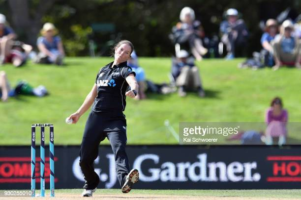 Holly Huddleston of New Zealand bowls during the Women's One Day International match between New Zealand and the West Indies on March 11 2018 in...
