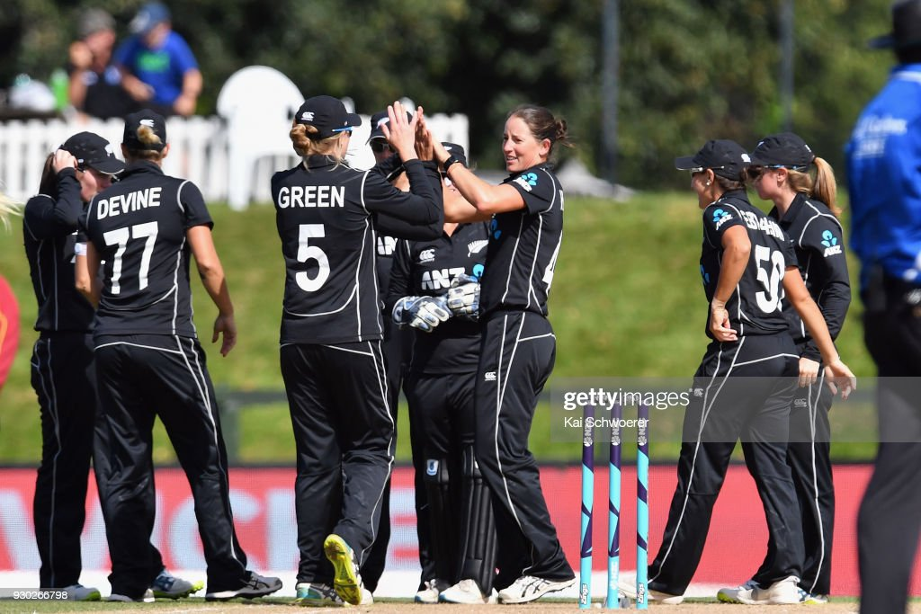 Holly Huddleston of New Zealand (C) is congratulated by team mates after dismissing Hayley Matthews of the West Indies during the Women's One Day International match between New Zealand and the West Indies on March 11, 2018 in Christchurch, New Zealand.