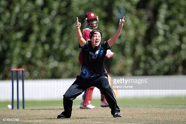 Holly Huddleston of New Zealand successfully appeals the wicket of Shemaine Campbelle of the West Indies during game two of the One Day International...