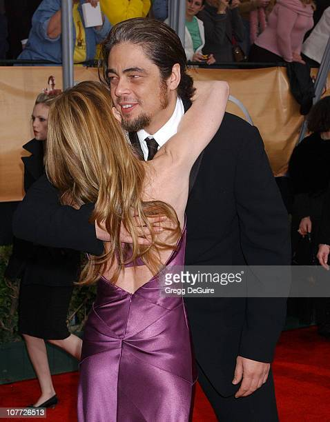 Holly Hunter and Benicio Del Toro during 10th Annual Screen Actors Guild Awards Arrivals at Shrine Auditorium in Los Angeles California United States