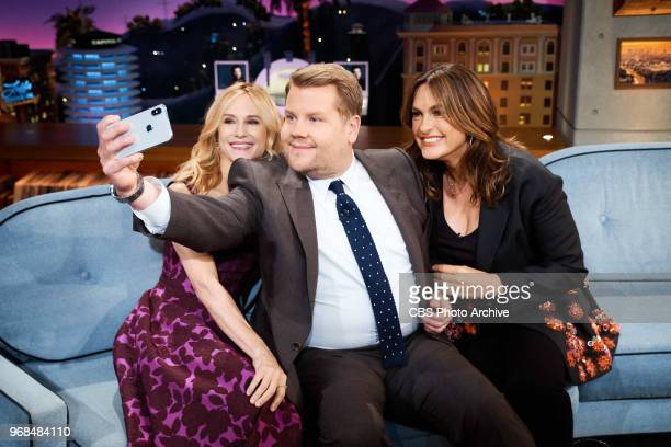 Holly Hunter and Mariske Hargitay chat with James Corden during 'The Late Late Show with James Corden' Monday June 4 2018 On The CBS Television...
