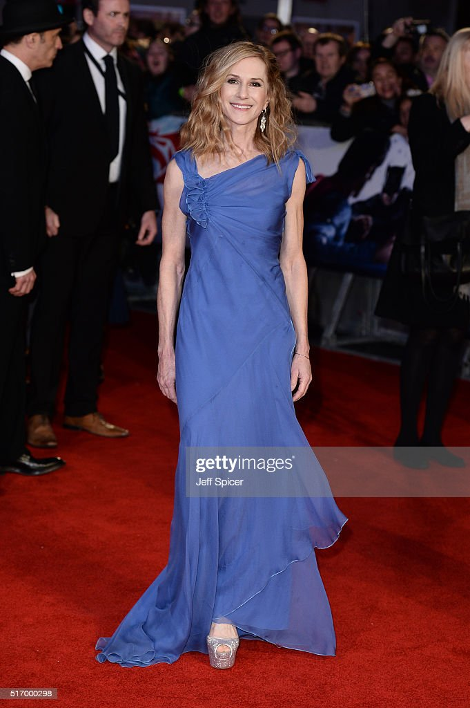 Holly Hunter arrives for the European Premiere of 'Batman V Superman: Dawn Of Justice' at Odeon Leicester Square on March 22, 2016 in London, England.
