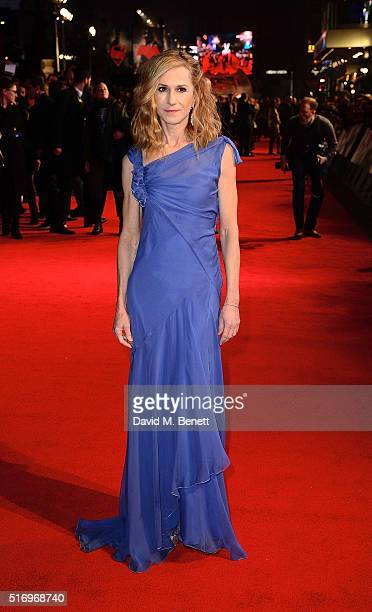 """Holly Hunter attends the European Premiere of """"Batman V Superman: Dawn Of Justice"""" at Odeon Leicester Square on March 22, 2016 in London, England."""