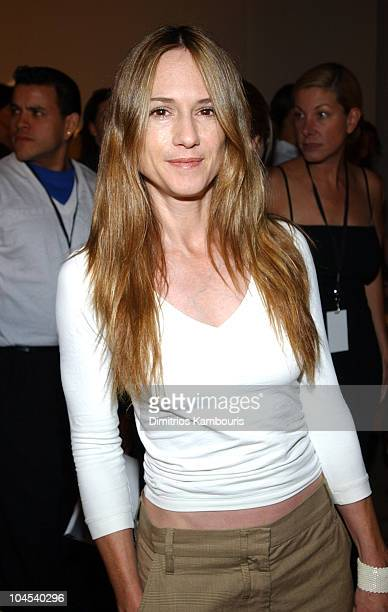 Holly Hunter during MercedesBenz Fashion Week Spring Collections 2003 Vera Wang Front Row at Bryant Park in New York City New York United States