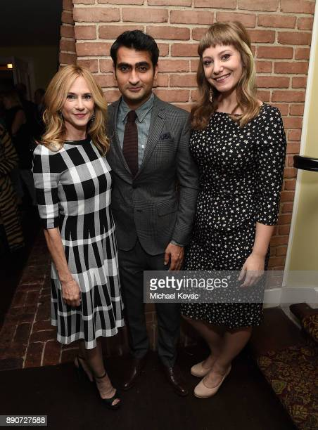 Holly Hunter Kumail Nanjiani and Emily V Gordon attend The Big Sick Cocktail Reception at The Chateau Marmont on December 11 2017 in Los Angeles...