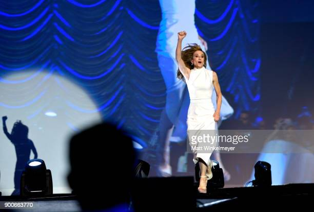 Holly Hunter winner of the Career Achievement Award runs onstage at the 29th Annual Palm Springs International Film Festival Awards Gala at Palm...