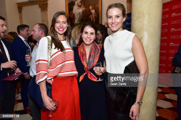Holly Hutchinson Jennifer Hunter and Georgie Tipper attend ELLE DECOR Celebration of Iconic French Style at the French Consulate on September 12 2017...