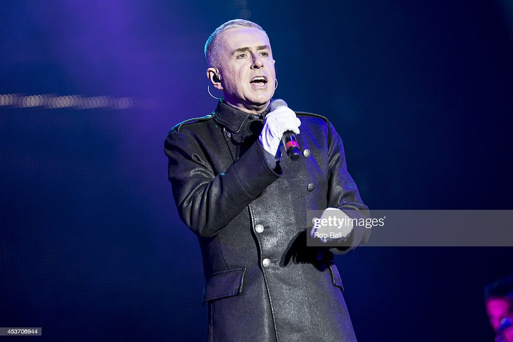 Holly Johnson performs on stage at Rewind South 80s Music Festival at Temple Island Meadows on August 16, 2014 in Henley-on-Thames, United Kingdom.