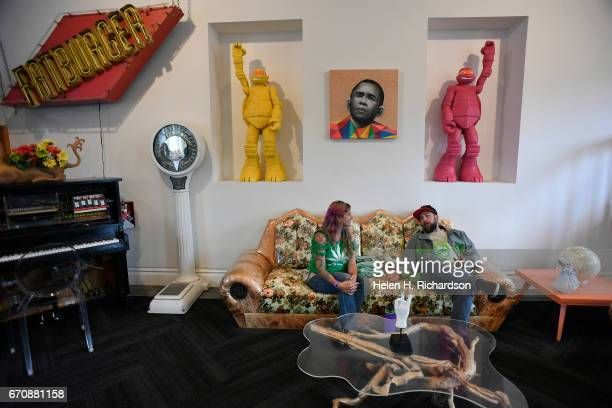 Holly Jury left and her husband Matt enjoy the lounge area at the International Church of Cannabis before joining in 4/20 celebrations services at...