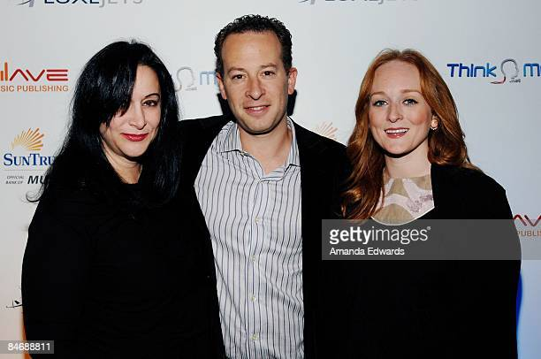 Holly Knight Justin Shukat and Antonia Bennett attend the Primary Wave Music Publishing preGrammy party at SLS Hotel on February 7 209 in Los Angeles...