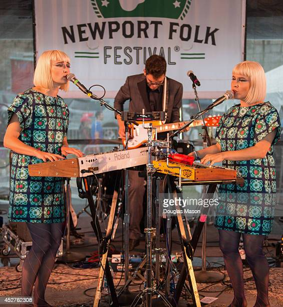 Holly Laessig and Jess Wolfe of Lucius performs during the 2014 Newport Folk Festival at Fort Adams State Park on July 26 2014 in Newport Rhode Island
