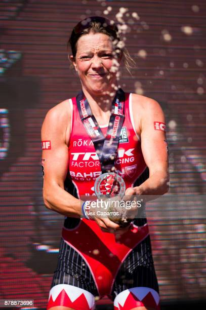 Holly Lawrence celebrates after winning the women's race of IRONMAN 703 Middle East Championship Bahrain on November 25 2017 in Bahrain Bahrain