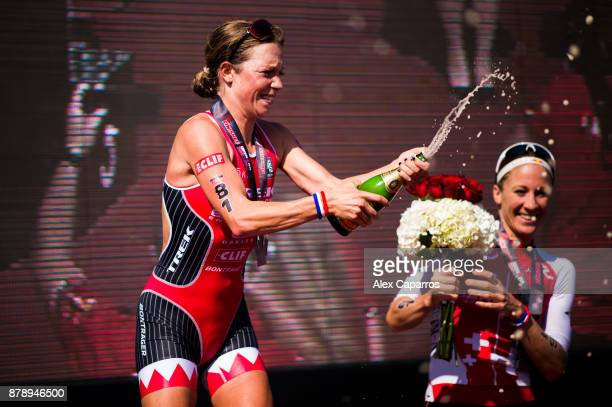 Holly Lawrence of Great Britain celebrates after winning the women's race of IRONMAN 703 Middle East Championship Bahrain on November 25 2017 in...
