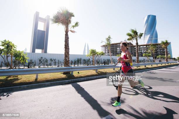 Holly Lawrence of Great Britain competes during the run course of IRONMAN 703 Middle East Championship Bahrain on November 25 2017 in Bahrain Bahrain