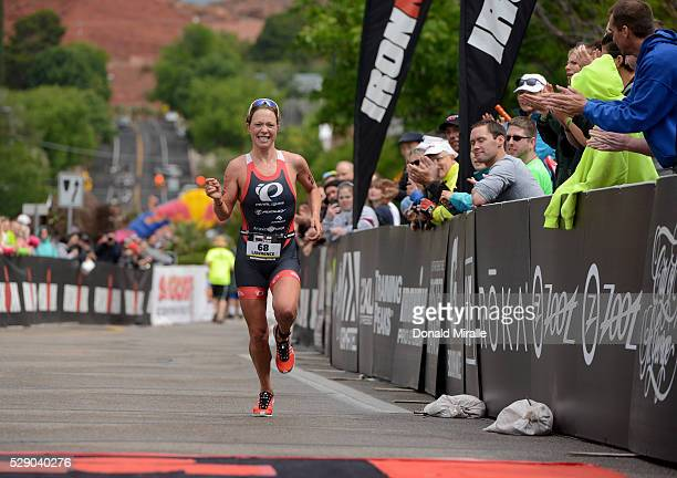 Holly Lawrence of Great Britain runs up the finish line chute en route to a 2nd place finish during the St George Ironman 703 North American Pro...