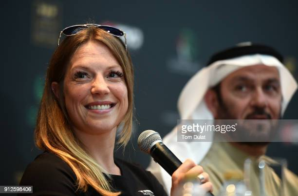 Holly Lawrence speaks to the media during the Ironman 703 Dubai 2018 press conference on January 31 2018 in Dubai United Arab Emirates