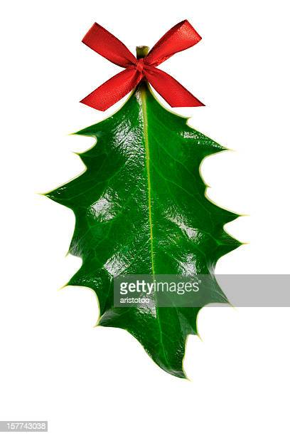 Holly Leaf with Red Ribbon, Isolated on White
