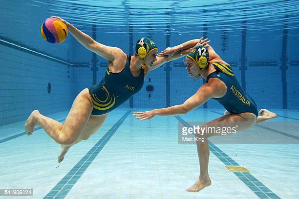 Holly LincolnSmith and Nicola Zagame pose during a Australian Women's Olympic Water Polo Team portrait session at Sydney Olympic Park Aquatic Centre...
