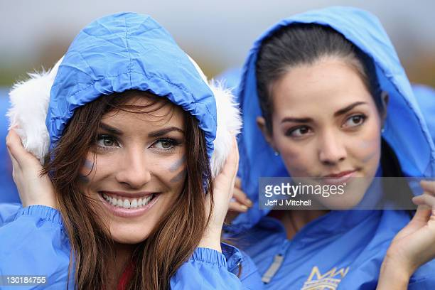 Holly Louise Carpenter Miss Ireland puts on ear muffs during the Miss World Highland Games at Crieff Hotel on October 24 2011 in Crieff Scotland One...