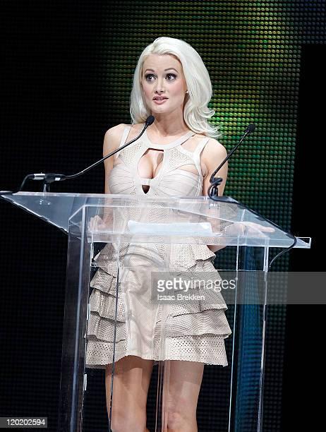 Holly Madison accepts the Humanitarian Award at the North American Hairstyling Awards at the Mandalay Bay South Pacific Ballroom July 31 2011 in Las...
