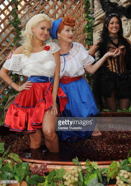 Holly Madison and Diane Vincent attend the 2009 Georges DuBoeuf Beaujolais Nouveau celebration at Paris Las Vegas on November 18 2009 in Las Vegas...