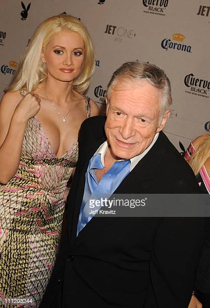 Holly Madison and Hugh Hefner attend the Playboy's Super Saturday Night Party during Super Bowl Weekend on February 2 2008 in Phoenix Arizona