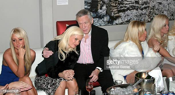 Holly Madison and Hugh Hefner during Hugh Hefner and International Images Launch the Playboy Legacy Collection at Republic in Los Angeles California...