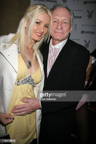 Holly Madison and Hugh Hefner during Kelly Osbourne Hosts WhiteTrash Charms Playboy Jewelry Launch Party at Hyde in Hollywood California United States