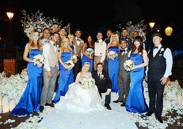 Holly Madison And Pasquale Rotella Pose For Photos With Their Wedding Party At Disneyland On September