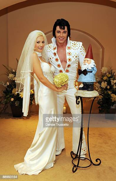 Holly Madison and the Travelocity gnome wed as Elvis impersonator Tim Welch officiates at The Wedding Chapel at Planet Hollywood Resort Casino on...